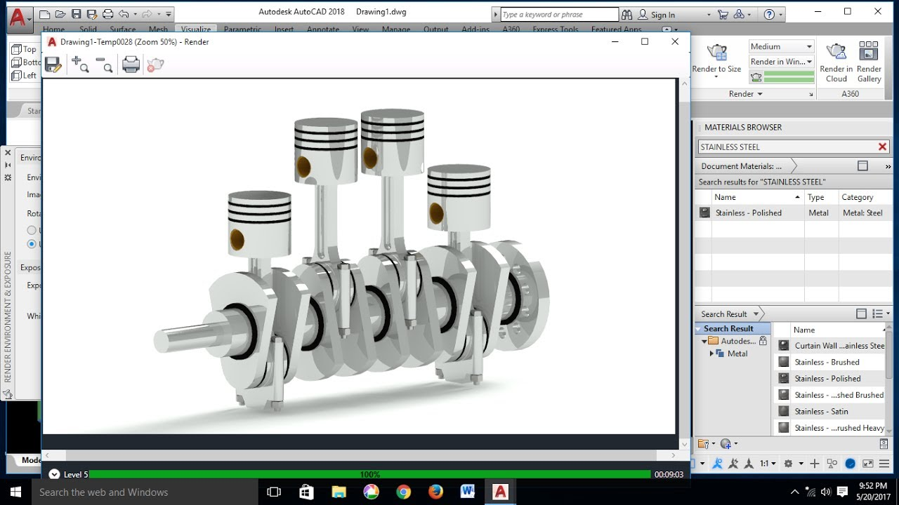 AutoCAD 3D Modeling – Engine Parts Assembly Tutorial - 4 Stroke ...