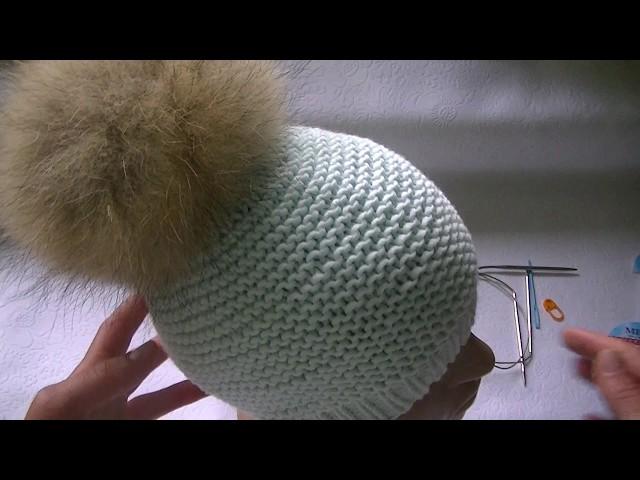 вязание шапки платочной вязкой
