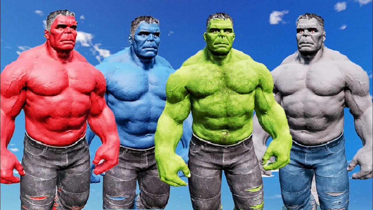 HULK SMASH ~ GREEN HULK & GRAY HULK VS RED HULK & BLUE ...