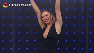 Adabel Guerrero se animó a hacer flexiones