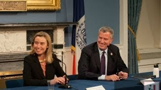 Federica Mogherini, Italy's Minister of Foreign Affairs, meets mayor Bill de Blasio at City Hall.