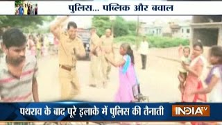 Public Pelt Stones on Police at Kalyanpur Area in Kanpur