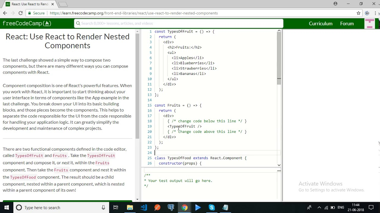 freecodecamp- React Use React to Render Nested Components