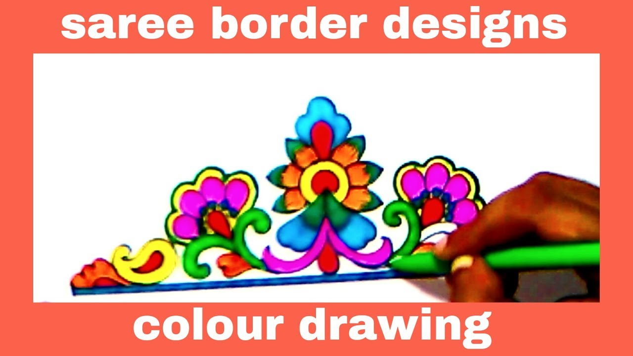 Simple Embroidery Art Drawing Saree Border Designs Pencil Art With