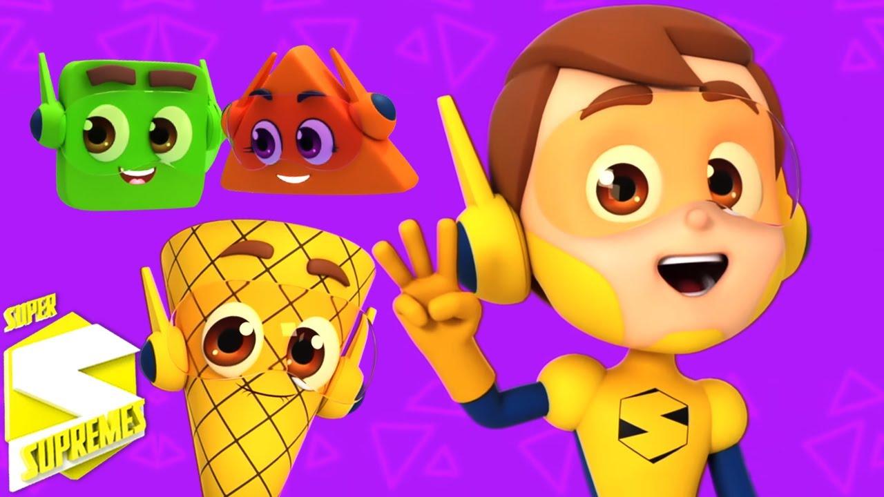 Canción de formas | Dibujos animados | Rimas para niños | Super Supremes Español | Educación