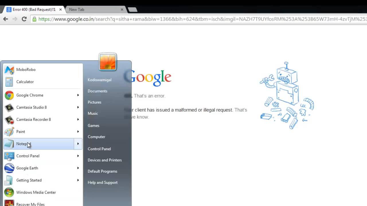 Google Error 400 (Bad Request) Your client has issued a
