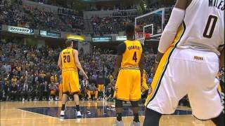 George hill crazy unbeleiveable one hand 3point shot and 1