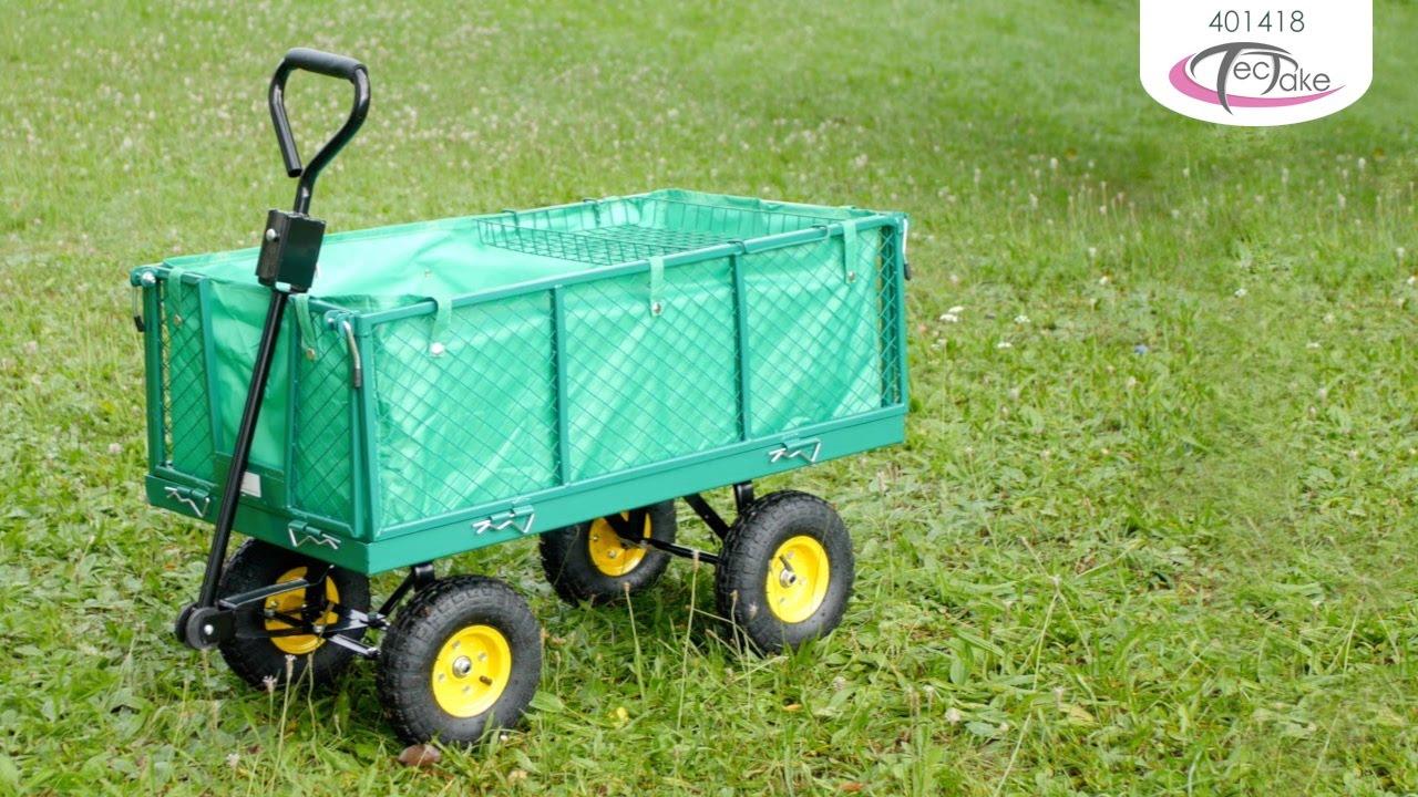 Chariot de jardin pliable xxl avec b che et plateau Chariot de jardin xxl