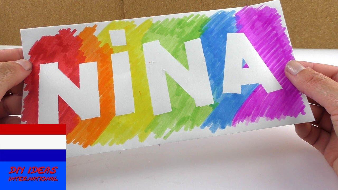 Cool naambord in regenboogkleuren decoratie idee voor je kamer youtube - Idee van decoratie voor kamer ...