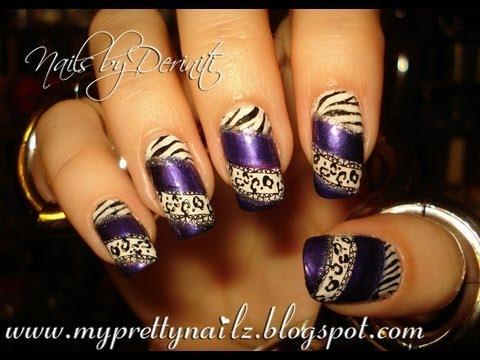 Purple Exotic Animal Print Nail Art Stamping Easy Tutorial Youtube