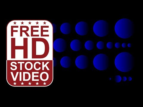 FREE HD video backgrounds – abstract animated blue circles scaling and appearing in rows on black ba