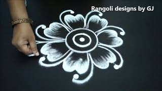 Amazing rangoli patterns for beginners with out dots || new kolam designs || freehand muggulu