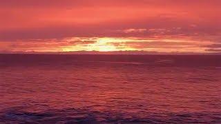 Incredible Deep Red Sunset In Hawaii