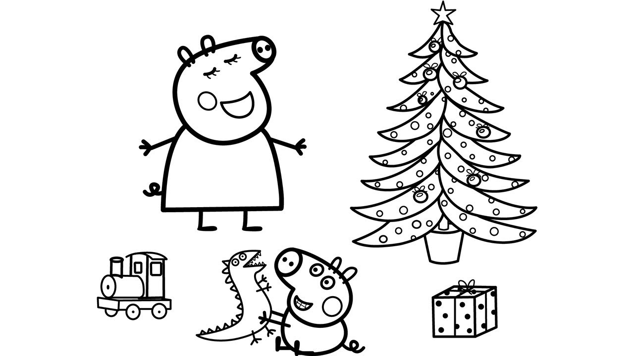 Peppa Pig Christmas Coloring Pages Peppa Pig And George Youtube
