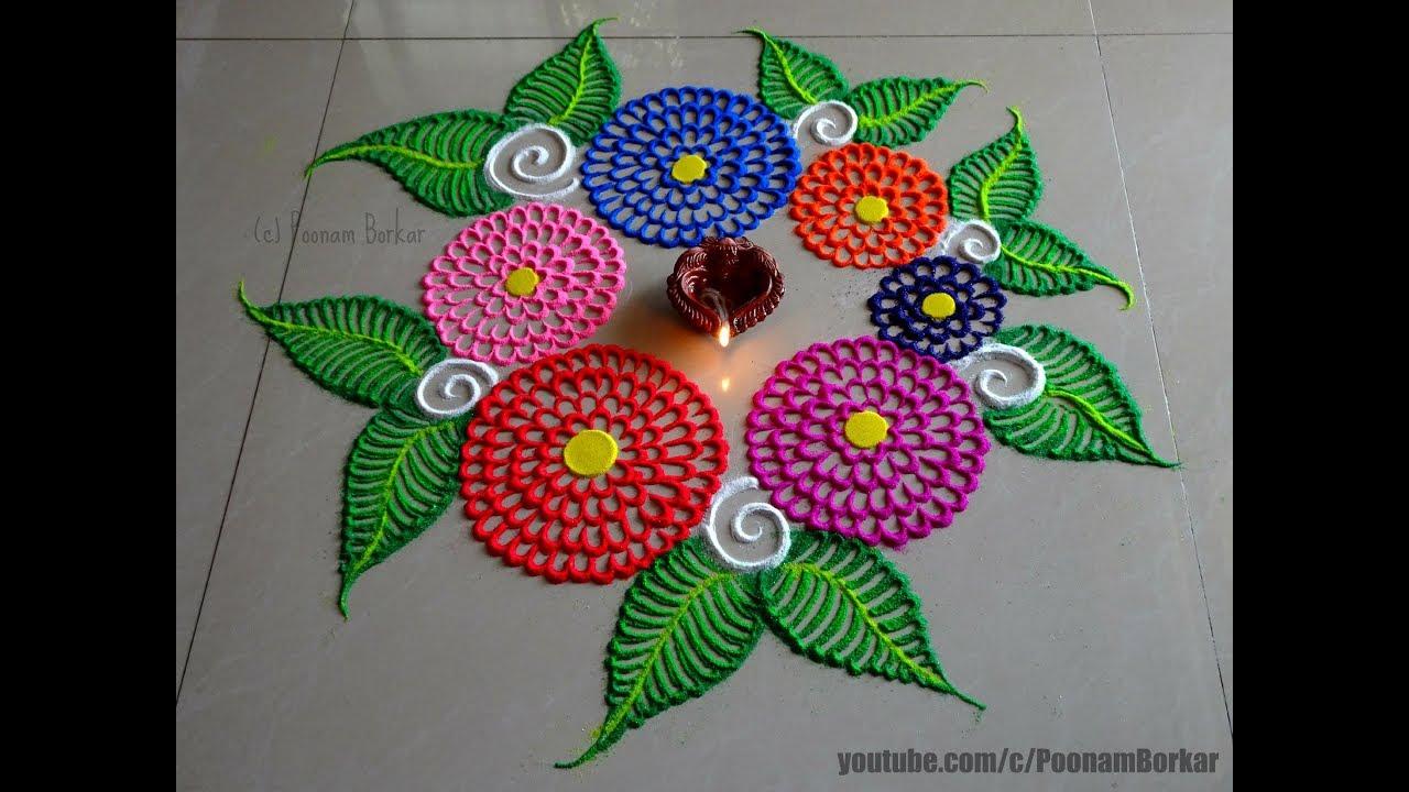 Diwali special easy multicolored flowers rangoli | Innovative ...