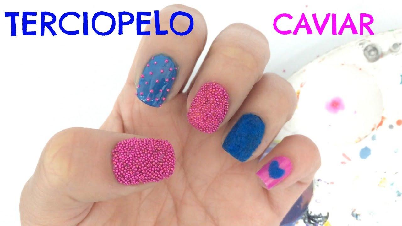 Decoracion De Uñas Con Caviar Y Terciopelo Velvet And Caviar Nail