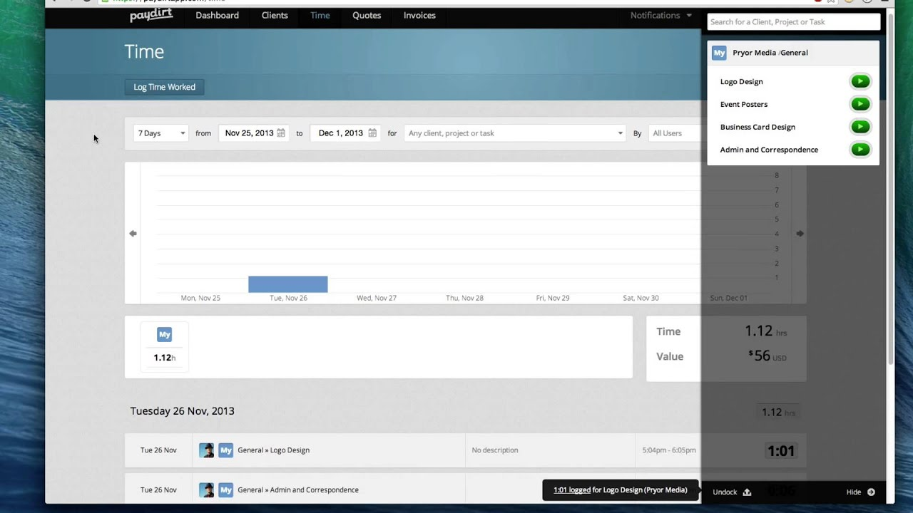 Time tracking with paydirt youtube time tracking with paydirt reheart Image collections