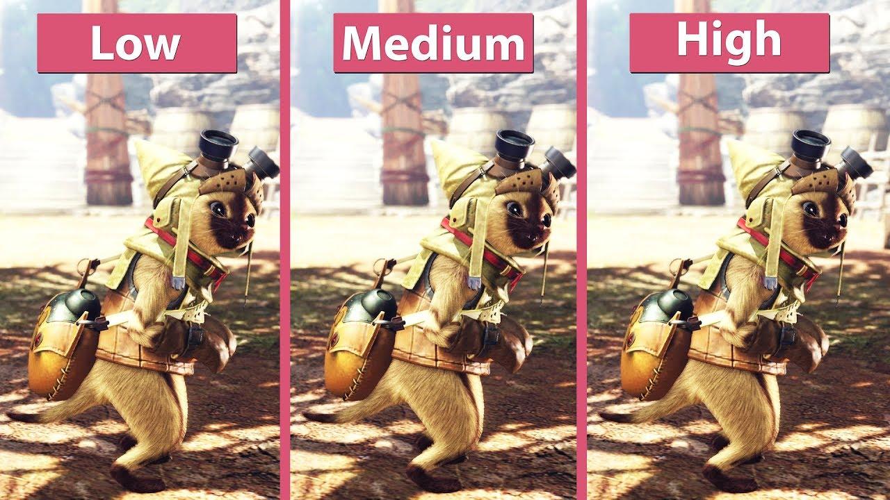 Monster Hunter World – PC 4K Low vs  Mid vs  Highest Frame Rate Test &  Graphics Comparison
