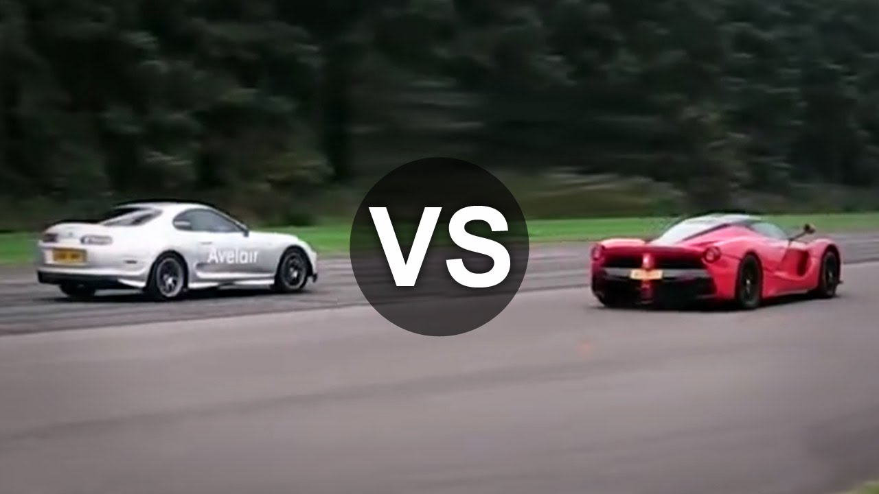 Ferrari Vs Toyota >> Ferrari Laferrari Vs Toyota Supra Mk4 Single Turbo Drag Race Youtube