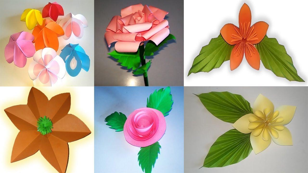 6 Types Of Beautiful Flowers Making Video Craft Ideas Diy Flowers