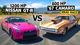 1,200whp GT-R vs. '67 Big Block Drag Camaro. 8 Second Import/Domestic Battle // This vs. That