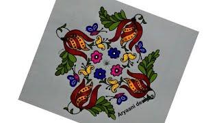 Simple rangoli..stylish flowers..13 to 3 dots..
