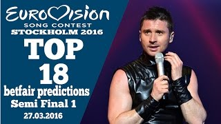 Eurovision 2016 | Semi Final 1| Top 18| chance to qualify| for BETFAIR 27/03/2016