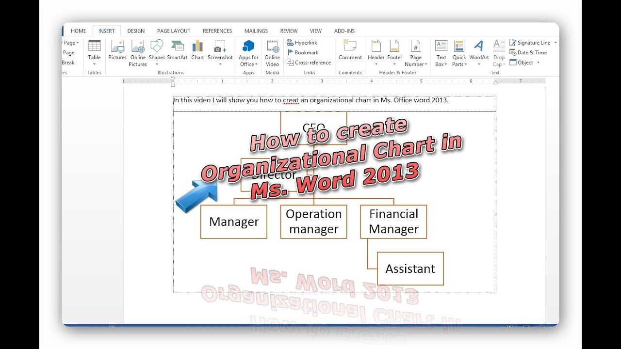 Create organizational chart in office word 2013 very simple tip create organizational chart in office word 2013 very simple tip youtube nvjuhfo Gallery