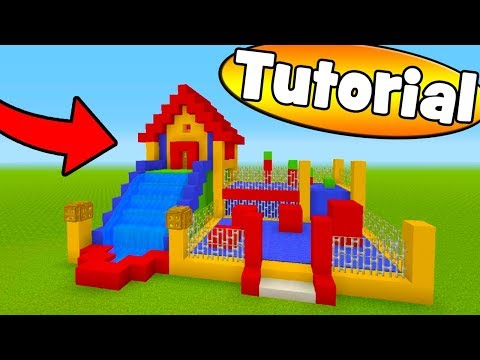 """Minecraft Tutorial: How To Make A Bouncy House House With a Water Slide """"Bouncy House Tutorial"""""""