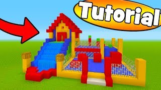 "Minecraft Tutorial: How To Make A Bouncy House House With a Water Slide ""Bouncy House Tutorial"""