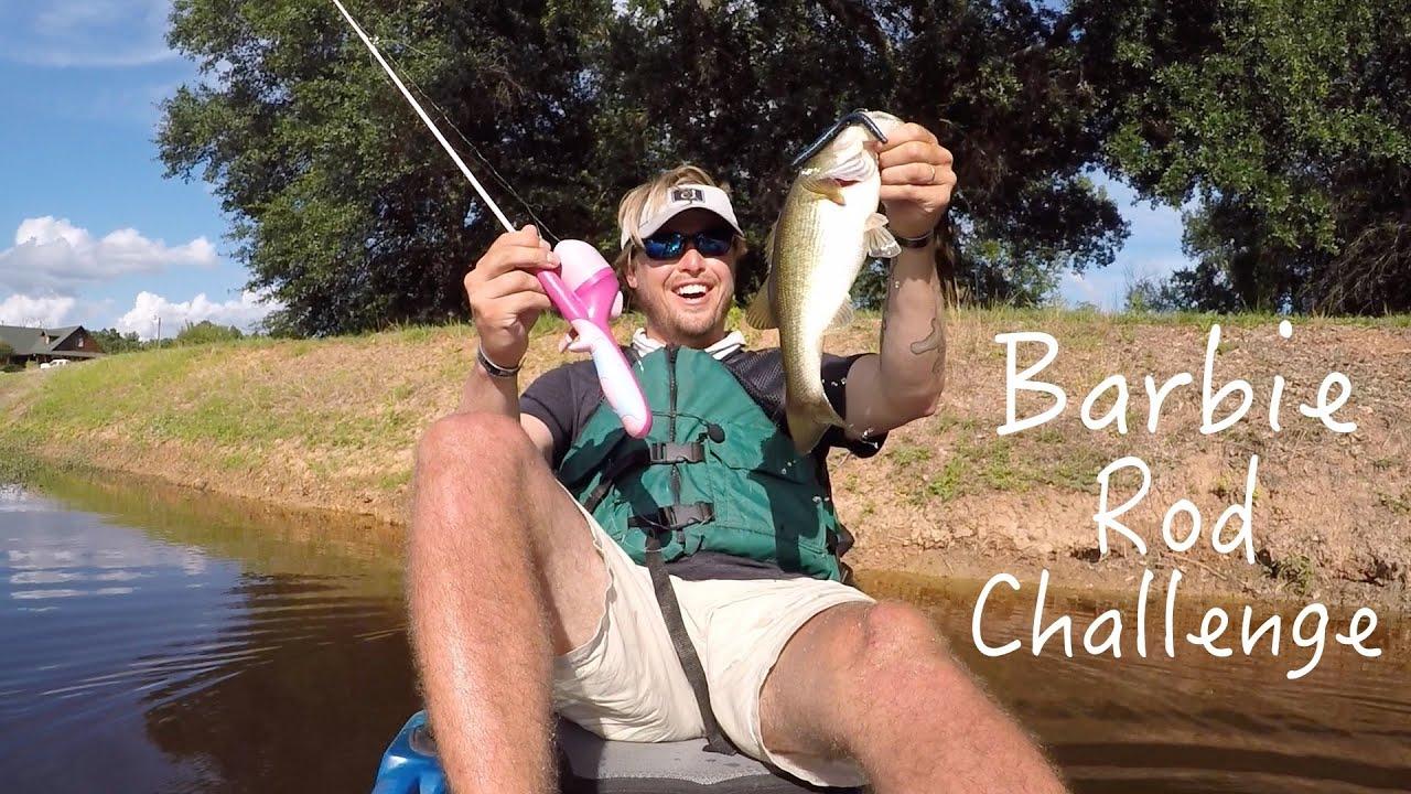 Bass fishing barbie rod challenge ft flukemaster kayak for Bass fishing challenge