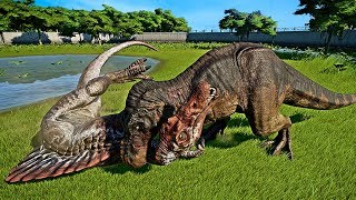 🌍 Jurassic World Evolution - 2 Tyrannosaurus Rex Vs 2 Spinosaurus Fight (Dinosaurs Battle)