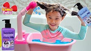 혼자 머리감기 도전! 라임 샴프로 목욕놀이 했어요 스노우버디 어린이 샴프 목욕용품