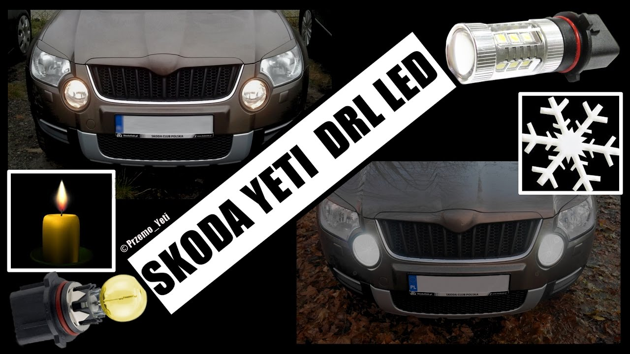 skoda yeti diy tutorial wymiana Żar243wek drl led p13w bulbs