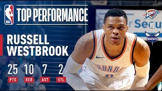 Russell Westbrook Erupts For 25/10/7 in Win vs. Hornets | January 13, 2018