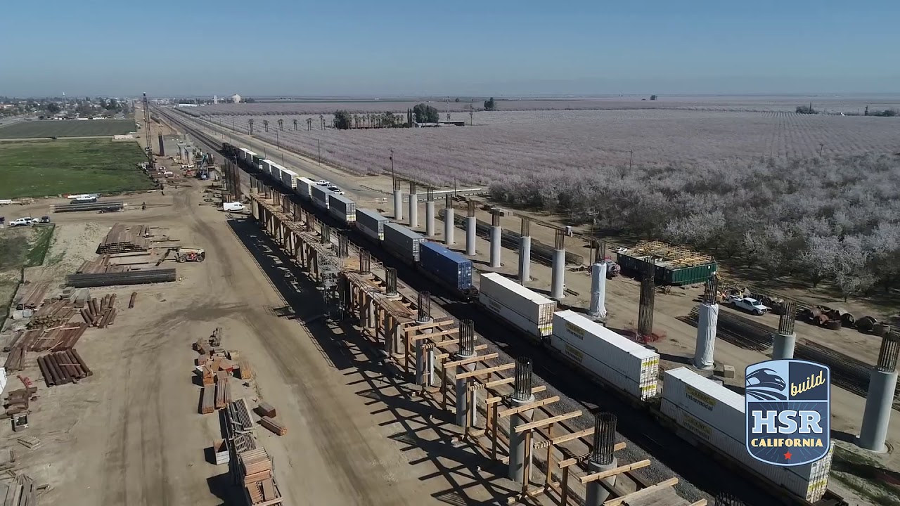 Drone footage from the beginning of March shows the shafts that will support a pergola at the Wasco Viaduct to take high-speed trains over existing BNSF freight tracks in Construction Package 4 in Kern County.