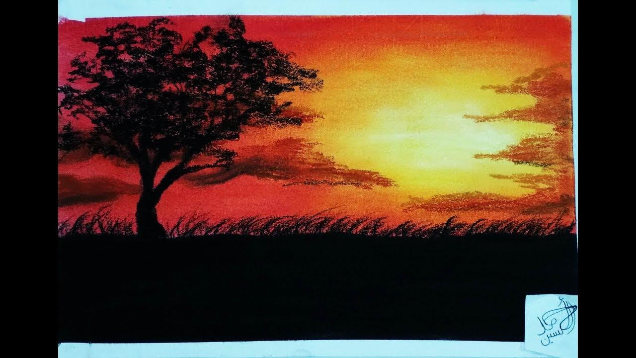 رسم الغروب بلالوان السوفت باستيل Drawing Sunset With Soft