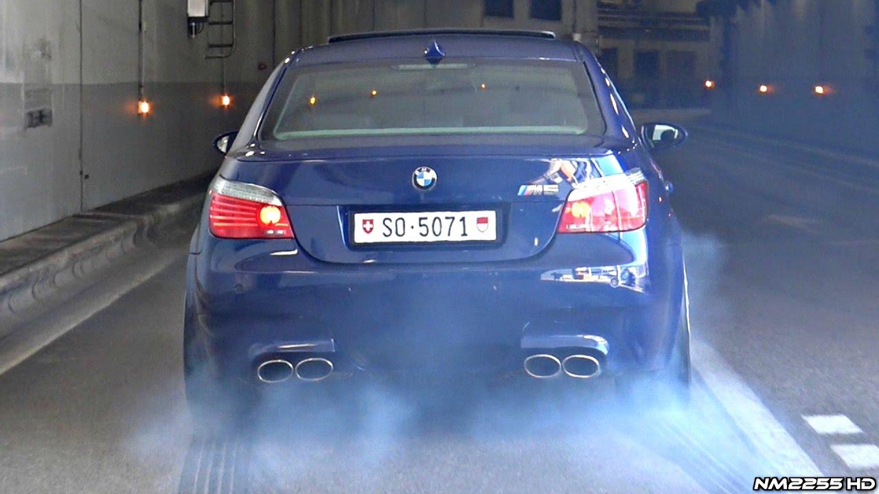 bmw m5 e60 with eisenmann race exhaust insane launches burnouts