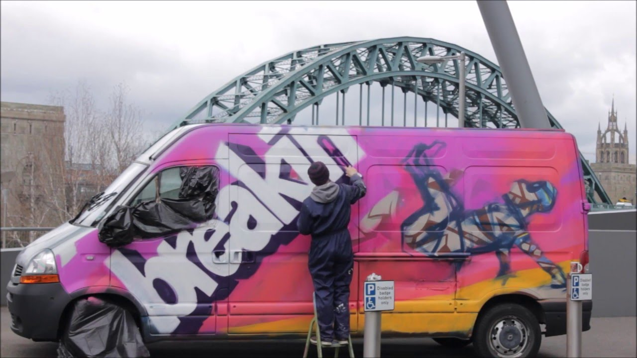 33ec200a4ddc Breakin  Convention Whitley Bay  Painting the graffiti van with Ghetto  Method