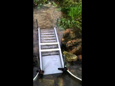 Pennsylvania Gold Prospecting. Allentown, PA area. Angus MacKirk sluice, with DIY stand.