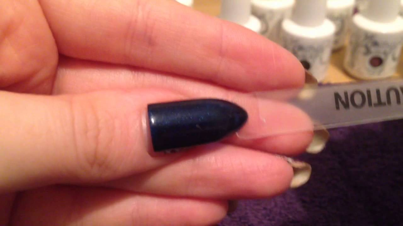 Gelish swatch caution navy blue gel polish review new - YouTube