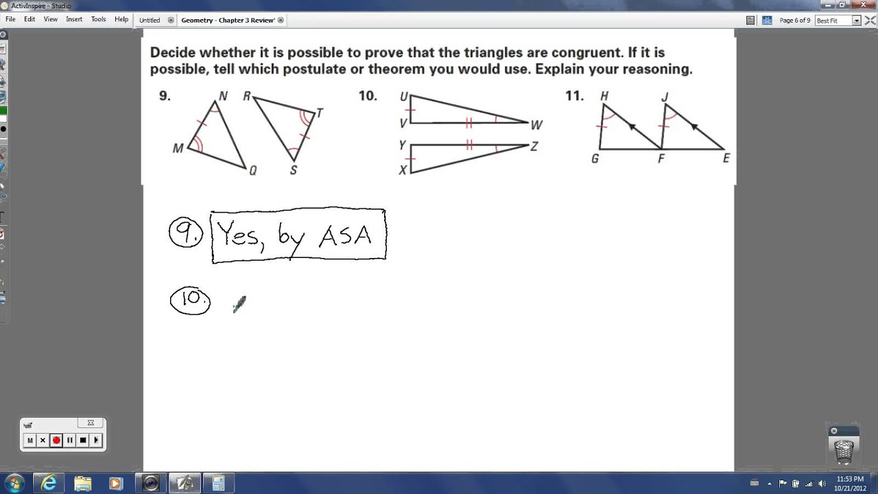 Geometry - Chapter 4 Review (Congruent Triangles) - YouTube