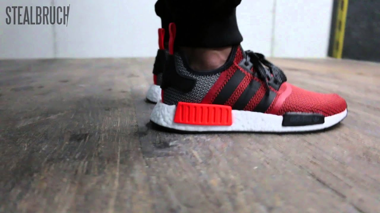 8bb4f0751 shop adidas nmd r1 lush red core black youtube 7577c 45d24