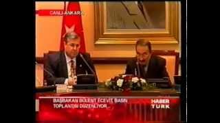 BAŞBAKAN BÜLENT ECEVİT, DEVLET BAKANI MASUM TÜRKER BASIN TOPLANTISI