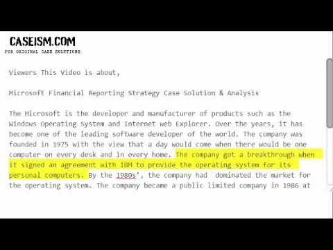 Microsoft Financial Reporting Strategy Case Solution  Analysis
