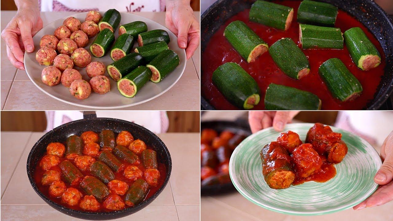 Ricetta Zucchine Ripiene Di Carne Al Sugo.Zucchine Ripiene Polpette Di Carne E Zucchine Ricetta Facile Fatto In Casa Da Benedetta Youtube