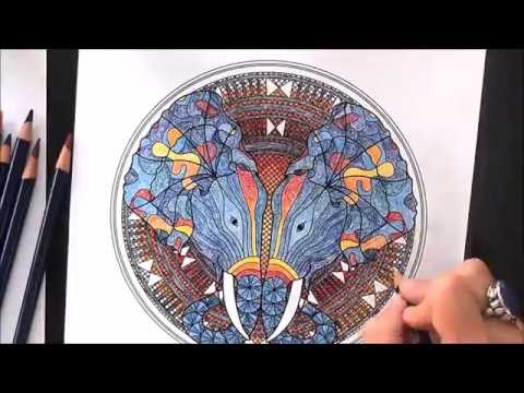 Time Lapse Coloring Animal Elephant Mandala - YouTube