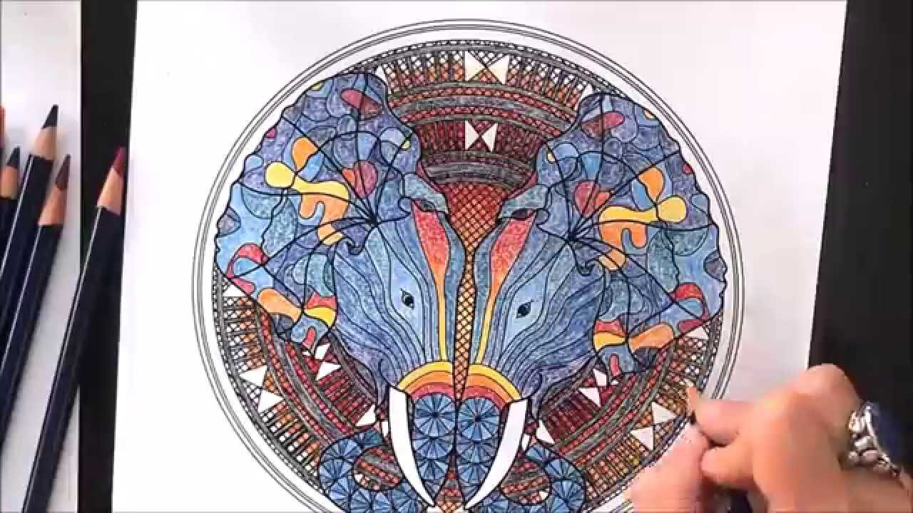 Time Lapse Coloring Animal Elephant Mandala - YouTube