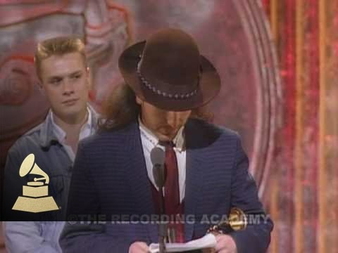 U2 Accepting The GRAMMY For Best Rock Performance By A Duo Or Group At The 30th GRAMMYs | GRAMMYs