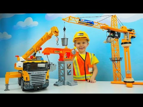 КРАНЫ для Детей. Башенные Краны и Автокраны для мальчиков. Сranes For Children